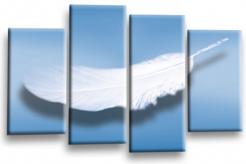 Modern Abstract Wall Art Picture Feather Love Print Blue White